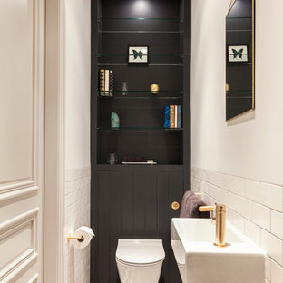 This is an example of a small eclectic bathroom in London.