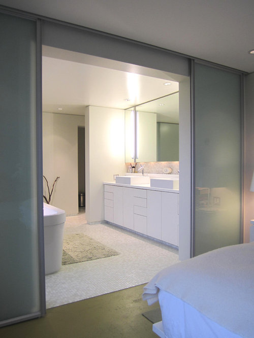 Minimalist mosaic tile bathroom photo in Seattle with a vessel sink Bathroom Glass Doors  Houzz