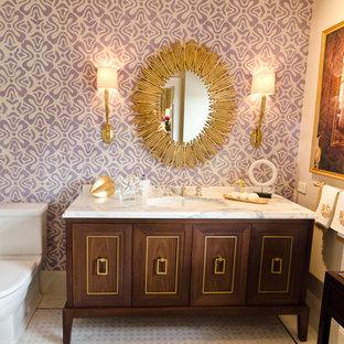 Modernes Badezimmer mit Waschtischkonsole, Marmor-Waschbecken/Waschtisch und lila Wandfarbe in San Francisco