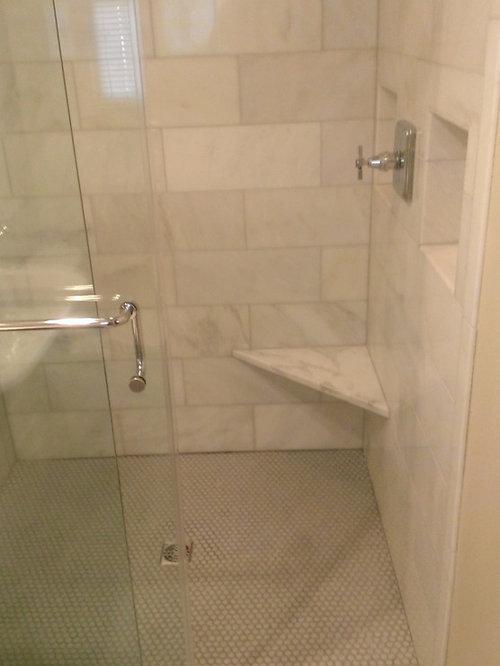 Bathroom Calcutta Gold Marble Shower Gray Penny Tile Floor
