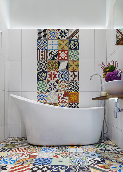 Mediterranean Bathroom by Cassidy Hughes Interior Design
