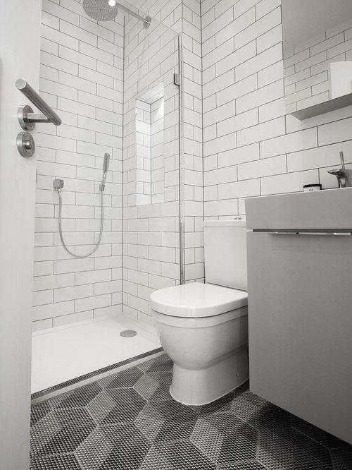 Salle de bain avec un plan vasque et une douche double - Plan salle de douche ...