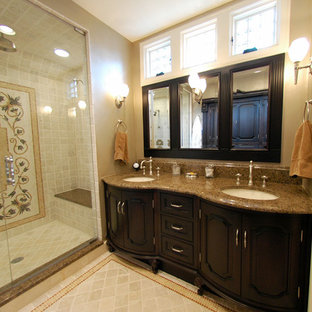Elegant alcove shower photo in Chicago with an undermount sink