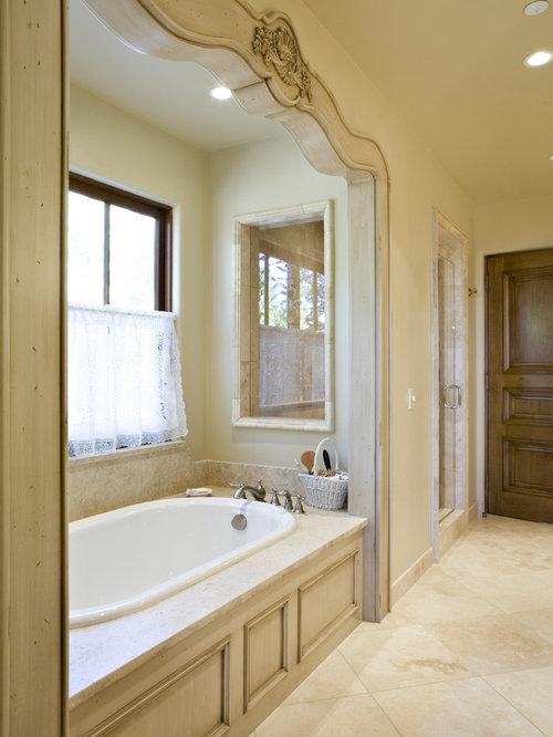 Elegant Beige Tile Drop In Bathtub Photo In Other
