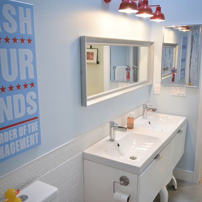 Bathroom - contemporary kids' white tile and subway tile bathroom idea in Calgary with an integrated sink, flat-panel cabinets and white cabinets