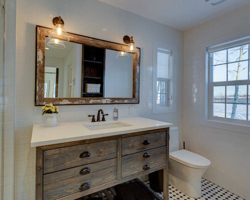 Small Farmhouse Master White Tile And Ceramic Floor Bathroom Idea In Calgary With Open