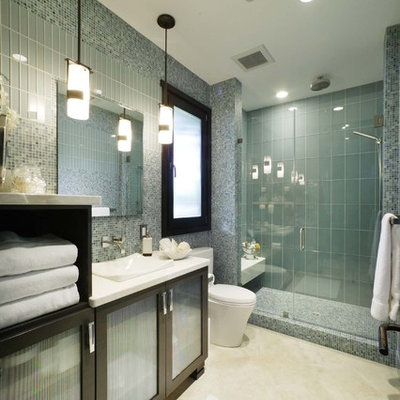 Inspiration for a contemporary glass tile and blue tile bathroom remodel in Sacramento