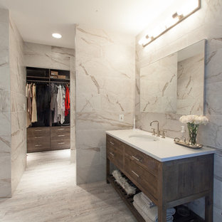 Bathroom - mid-sized transitional master bathroom idea in Atlanta with quartz countertops, flat-panel cabinets, dark wood cabinets, beige walls and an undermount sink