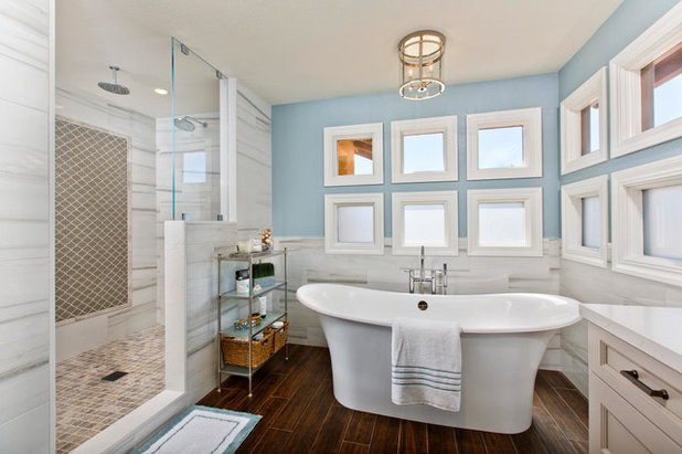 Luxury Transitional Bathroom by THE PLACE for Kitchens u Baths