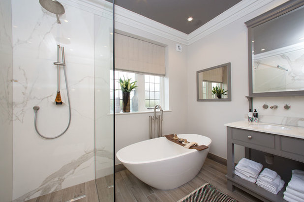Transitional Bathroom by Design by Jo Bee