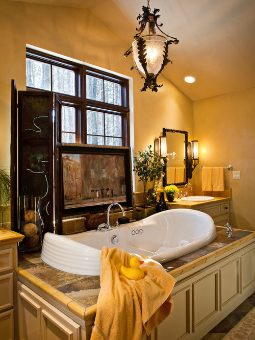 Mirror rustic bathroom other by custom design construction - Best Mediterranean Bath With Yellow Cabinets Design Ideas