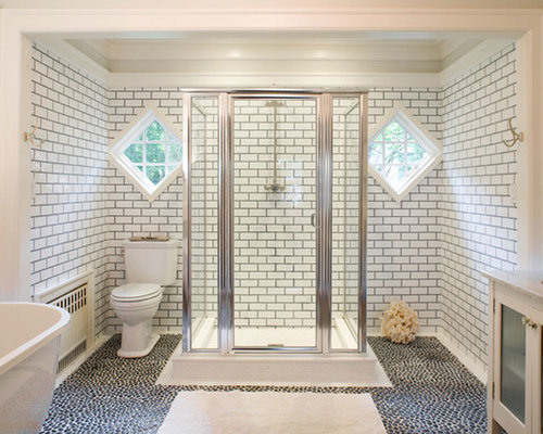 White subway tile grey grout home design ideas pictures remodel and decor for White subway tile with black grout bathroom