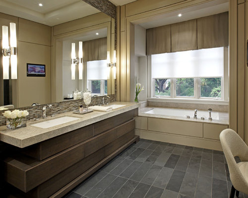 large contemporary master bathroom idea in toronto with an undermount sink beige tile an - Bathroom Backsplash