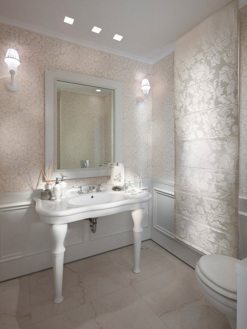 example of a trendy bathroom design in other with a console sink - Bathroom Designs With Wainscoting
