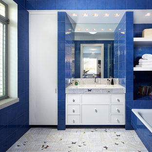 Example Of A Trendy Blue Tile Drop In Bathtub Design Other With
