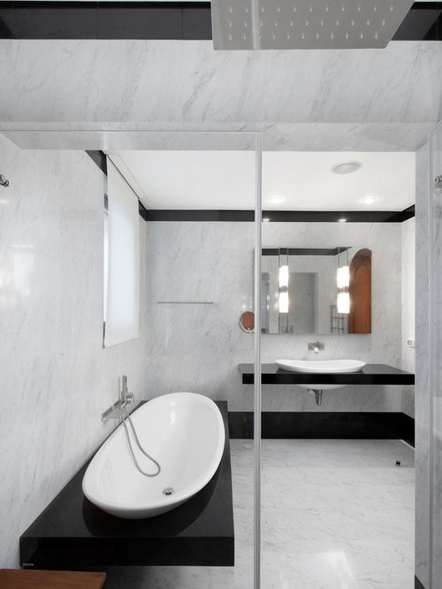 modern bathroom idea in other with a dropin sink and an alcove shower - White Carrara Marble