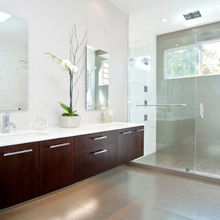 Alcove shower - contemporary alcove shower idea in San Francisco with flat-panel cabinets and dark wood cabinets