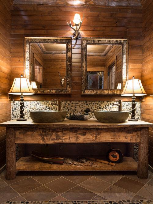 Cabin bathroom houzz for Adirondack bathroom design
