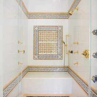 Inspiration for a large mediterranean master white tile and stone tile mosaic tile floor bathroom remodel in DC Metro with white walls