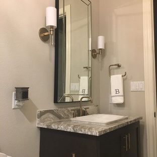 Bathroom - mid-sized modern 3/4 gray tile and limestone tile bathroom idea in Austin with recessed-panel cabinets, gray cabinets, engineered quartz countertops and gray walls