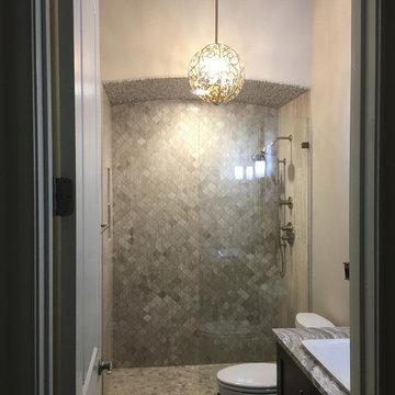 BATHROOM - Gray Limestone Tile - Arabesque Mosaic, 4x12 Herring Bone 8x12 Plank