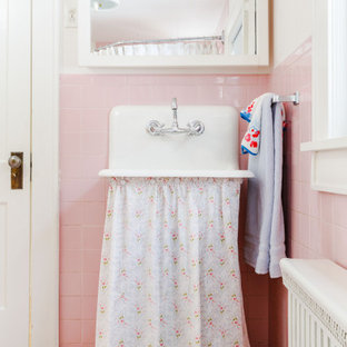 Inspiration for a mid-sized traditional 3/4 bathroom in Brisbane with open cabinets, a corner tub, a corner shower, a two-piece toilet, pink tile, ceramic tile, white walls, ceramic floors, a vessel sink, stainless steel benchtops, pink floor, a shower curtain and white benchtops.