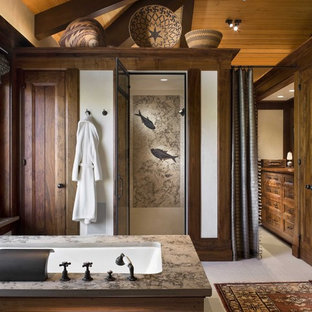 Example of a mountain style mosaic tile bathroom design in New York