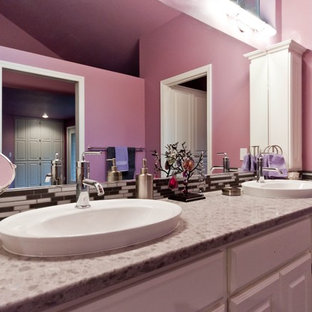 Design ideas for a large traditional master bathroom in Portland with an open shower, gray tile, pink walls, white cabinets, engineered quartz benchtops, a vessel sink, raised-panel cabinets and glass tile.