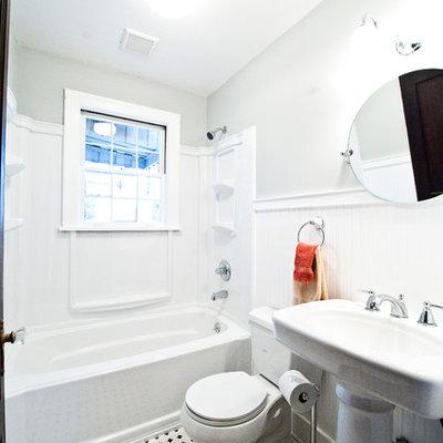 Bathroom - traditional multicolored floor bathroom idea in Nashville with a pedestal sink