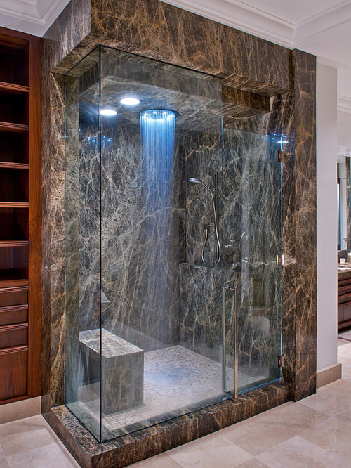 Inspiration For A Contemporary Brown Tile Corner Shower Remodel In Oklahoma  City