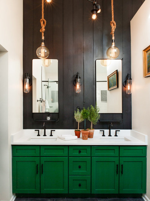 Example Of A Country Black Floor Bathroom Design In Chicago With Shaker  Cabinets, Green Cabinets