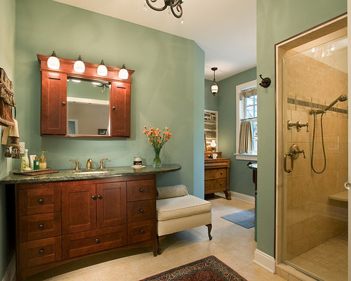 Example Of A Large Classic Master Limestone Floor And Beige Floor Alcove  Shower Design In Philadelphia