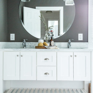 Example Of A Mid Sized Master White Tile And Subway Tile Marble Floor Bathroom  Design