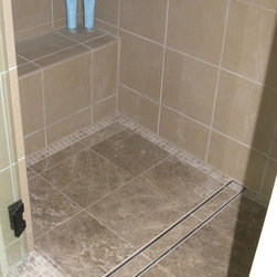 LUXE Tile Insert Linear Drain - Fantastic tub to shower conversion utilizing a tile insert linear drain by LUXE.