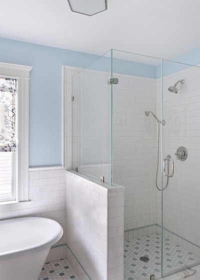 subway tile wainscoting puts bathrooms on the right track,