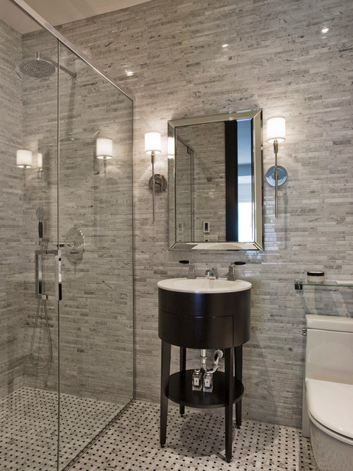 inspiration for a mid sized contemporary 34 gray tile and matchstick tile mosaic - Matchstick Tile Bathroom Ideas