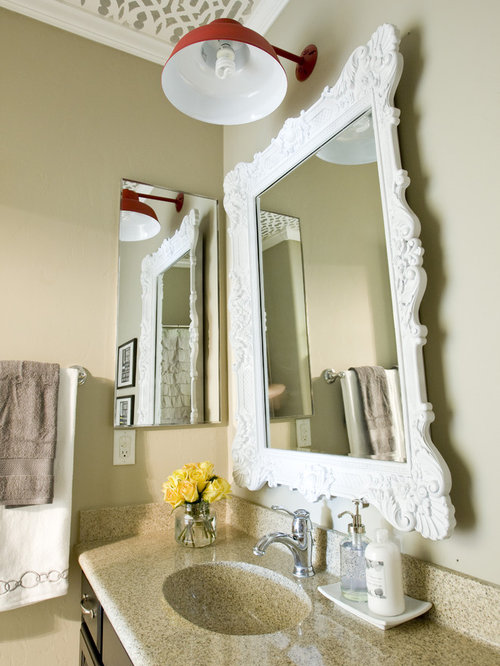 Example Of An Eclectic Bathroom Design In Salt Lake City With Integrated Sink And Dark