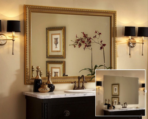 Framed Bathroom Mirror Home Design Ideas, Pictures