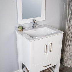 Bathroom - Small 24 inch bathroom vanity made from solid wood. Price includes faucet and mirror.