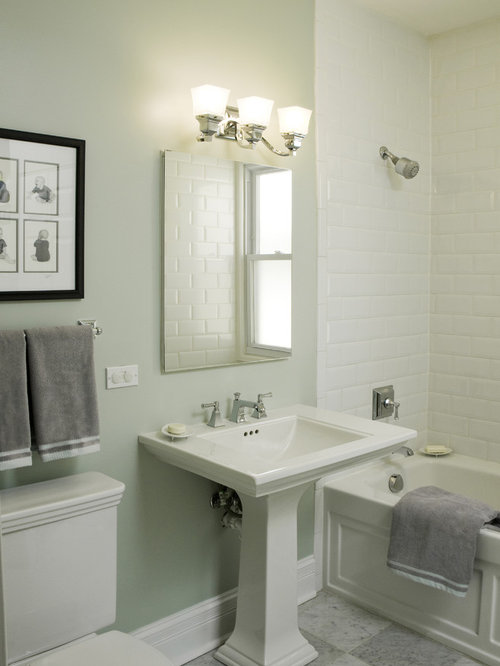 Example Of A Classic Subway Tile Bathroom Design In Chicago With A Pedestal  Sink