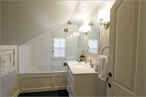 sloped bathroom ceiling home design ideas pictures remodel and decor. Black Bedroom Furniture Sets. Home Design Ideas