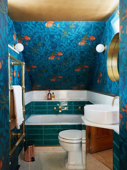 Blue Bathroom Drop In Sinks: Bathroom Design Ideas, Renovations & Photos With A Console