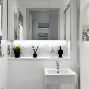 Design Ideas For A Contemporary Shower Room In Other With A Corner Shower,  White Tiles