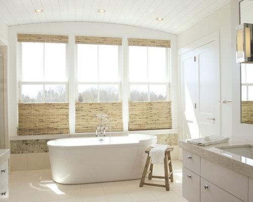Beach style bathroom idea in Providence with a freestanding tubBathroom Window Blinds Ideas   Houzz. Bathroom Blinds. Home Design Ideas