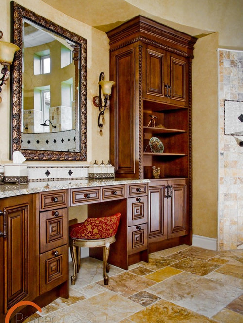 Traditional bathroom idea in Austin with granite countertops. Wood Dressing Table   Houzz