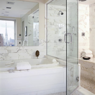 Shower bench - contemporary marble tile mosaic tile floor shower bench idea in New York