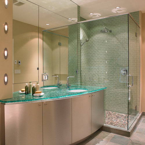 Bathroom Design Ideas Renovations Photos With Glass Worktops And Beige Walls
