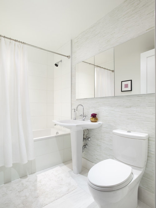 Tile behind toilet houzz - White bathroom ideas photo gallery ...