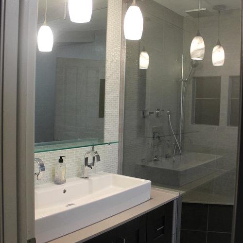 Inspiration For A Modern Gray Tile And Porcelain Floor Doorless Shower Remodel In Detroit