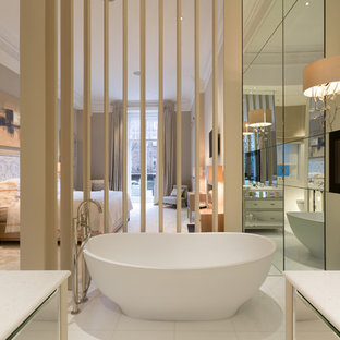 Design ideas for a large contemporary bathroom in London with marble tiles, grey walls, marble flooring, a wall-mounted sink, marble worktops, white floors, an open shower and white worktops.